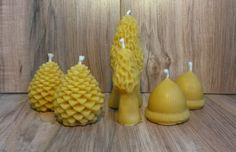 #puremichigan #beeswax #candles #nature #novelty #mushrooms #morels #acorns #pinecones #lot #set