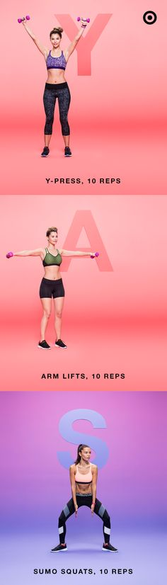 """You know what they say: No days off. So here's a full body workout you can do anywhere—especially when you're sporting an all-new C9 Champion® Power Core® or Power Shape™ sports bra. With an all-new range of colors, patterns and textures, it's athletic gear perfect for every workout move there is—from A to Z. Complete 3 sets of this workout for particularly """"YAS"""" results. Slim Diet, Total Body, Full Body, Body Workouts, Beginner Workouts, Fitness Diet, Fitness Motivation, Health Fitness, Pilates"""