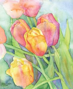 Bright Pink and Yellow Tulips watercolor giclée reproduction. Portrait/vertical orientation. Printed on fine art paper using archival pigment inks. This quality