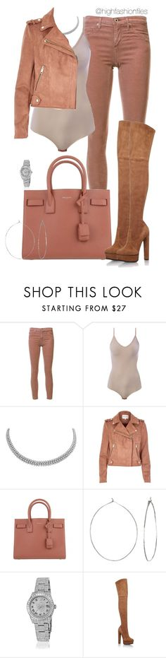 """Untitled #2706"" by highfashionfiles ❤ liked on Polyvore featuring AG Adriano Goldschmied, Intimissimi, River Island, Yves Saint Laurent, Phyllis + Rosie, Rolex and Casadei"