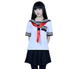 SSJJapanese Sailer Uniform MLXL sailor uniform socks shortsleeved Cosplay Dress M White *** More info could be found at the image url.