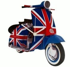 Union Jack Lambretta Scooter Wooden Wall Clock - Gift Boxed