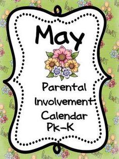 Parental Involvement (Homework) Calendar May for PK and Ki