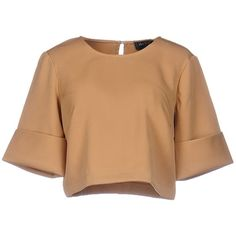 The Fifth Blouse (735 MXN) ❤ liked on Polyvore featuring tops, blouses, crop top, shirts, blusas, camel, short sleeve blouse, polyester shirt, crop blouse and beige blouse