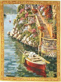 Lake Como Villa Mini Belgian Wall Tapestry