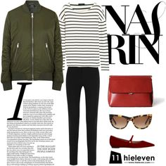 Bomber Jacket × Oxblood Hermione Flat by hieleven on Polyvore featuring J.Crew, Topshop, Givenchy, Tabitha Simmons and Oliver Goldsmith