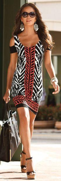 Cold Shoulder Zuma Print Dress
