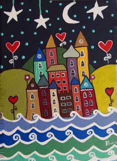House Quilts, Naive Art, Easy Paintings, Whimsical Art, Anime Art Girl, Stone Painting, Rock Art, Doodle Art, Oeuvre D'art