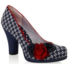 'Eva' is a fresh and edgy low cut court shoe, which is brand new for Summer 2016. From vintage-inspired geometric jacquard to classic cotton drill. Materials teamed with contrasting flower trim details and piping show this versatile little number off to its full potential. Trademark floral and spot linings with cotton drill covered heels and platform. http://www.marshallshoes.co.uk/womens-c2/ruby-shoo-ladies-eva-navy-red-court-shoe-with-flower-detail-p3641