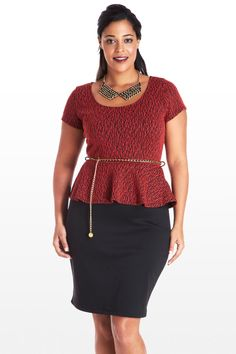 Perfectly refined, this dress combines all our favorite features: tailored knit bodice with exposed back zipper , waist-cinching belt, and a gorgeous peplum tier. Fitted black skirt hugs hips and accentuates curves for a timeless hourglass shape. Perfect for the workweek or an after-hours event; in all cases, prepare to wow.  $32.00