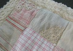 French Linen & Chenille Patchwork Quilt ~ Plaids & Ticking