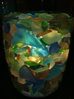 Awesome Sea Glass Lamp made by Rich Lute   mailto:cg63emo718...