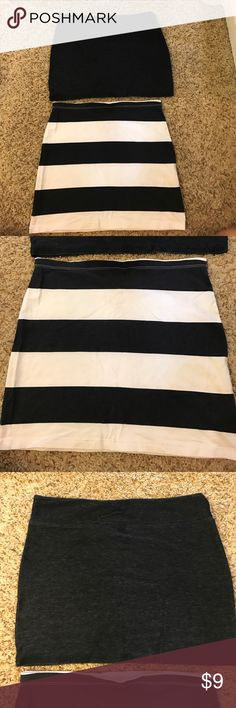 Mini skirts Selling together. White and black striped from H&M. Dark blue skirt from Forever 21. Both are a stretchy fit (no zippers) and great for summer! H&M Skirts Mini