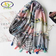 7.31$  Watch now - 1PC 2017 Summer New Japanese Style Fashion Woman Acrylic Cotton Long Tassels Scarf Thin Woman New Viscose Voile Pashminas Shawl   #buyonline