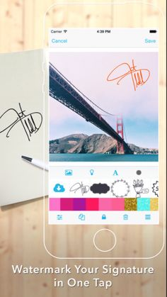 """Free app! Watermark your photos with your handwritten signature. """"Watermark"""" in the App Store."""