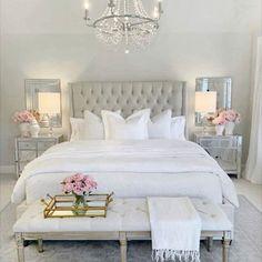 Glam Bedroom, Room Ideas Bedroom, Bedroom Vintage, Home Decor Bedroom, Modern Bedroom, Bedroom Furniture, Neutral Bedrooms, Master Bedrooms, Bedroom Designs