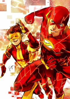 Flash and Kid Flash, by Fuge  Wally or Barry with Bart...?