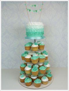 Green Ruffle cupcake tower, displayed on our Monochrome Range! http://www.weddingacrylics.co.uk/round-cupcake-stands/000MC-ROUND.html