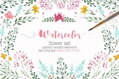 Watercolor floral set +Brushes by Lembrik's Artworks on @creativemarket