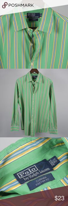 """16.5 34/35 POLO by Ralph Lauren Green Shirt A5 Thank you for your interest in my item. You're going to love it — I guarantee it!   Top to Bottom: 31""""  Armpit to Armpit: 24"""" Shoulder to Sleeve Cuff: 25.5""""   Please remember to scroll through my other items and save on shipping when you purchase multiple items! Polo by Ralph Lauren Shirts Dress Shirts"""