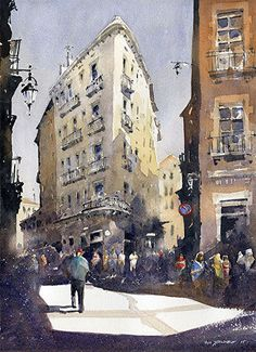 "The Gothic Quarter No.1- Barcelona by Iain Stewart Watercolor ~ 14"" x 10"""