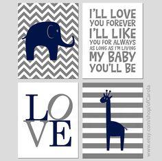 Elephant Giraffe Wall Art Print Set FOUR, Personalized Kids Family Animals I'll Love You Forever Quote Navy Blue Dark Gray White ofCarola on Etsy, $36.00