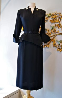 40s Dress / 1940s Dress / 1940s Black Cocktail Dress with Rhinestone Starburst Pins and Fabulous Cuffs by Mademoiselle Juliette Size L. $248.00, via Etsy.
