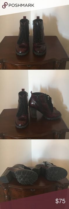 d6d91f8313a Chunky heels Maroon patent leather chunky heels Steve Madden Shoes Ankle  Boots   Booties Chunky Heels