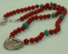 Coral necklace knotted with sterling pendant by BrioBaubles, $42.00