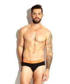 Charlie King For Bang+Strike modeling Calvin Klein Limited Edition Cotton Stretch Black Brief - See more: http://www.bangandstrike.com/mens-underwear-c20/multipacks-c48/emporio-armani-3-pack-dark-cotton-stretch-briefs-p22848