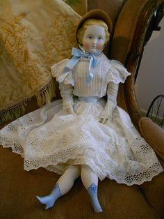 "Huge 27"" 1870 Parian Bisque Doll Alt Beck and Gottschalk Lady"