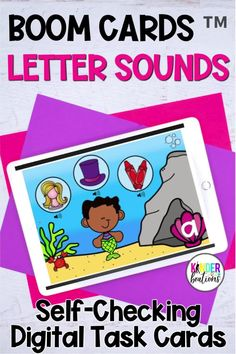 This ocean themed bundle of Boom Cards includes 3 different digital task card decks with audio directions and support. Skills include beginning sounds, middle sounds, and ending sounds. These self-checking digital task cards are perfect for your kindergarten, first grade, or preschool learners. They can be used for distance learning, home learning, or in the classroom. #kindergarten #boomcards #literacy #distancelearning #alphabet #lettersounds