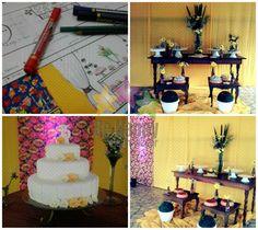 15 anos temático: chita & chique Cenário do bolo para a luz do dia.