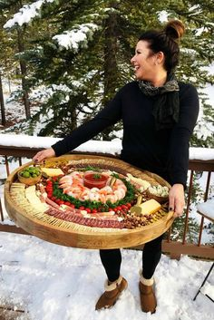 Epic Shrimp Cocktail Charcuterie Board - I want this giant serving tray! Would like to do on a smaller scale. Is that a charcuterie board or are you just happy to see me 🤔 Little snack plate Plateau Charcuterie, Charcuterie Platter, Charcuterie And Cheese Board, Cheese Boards, Finger Food Appetizers, Appetizers For Party, Finger Foods, Appetizer Recipes, Dips Food