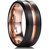 King Will Mens 8mm Black Matte Finish Tungsten Carbide Ring 18K Rose Gold Plated Beveled Edge Wedding Band
