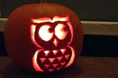 Printable Owl Pumpkin Carving Template #pumpkin