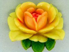 Rose Carved Celluloid Enamel Brooch