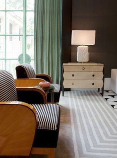 Art Deco had a great influence on interior design. Incorporating streamlined geometric forms the furniture pieces include components such as geometric fabrics and zigzags. — Joseph Carini Carpets