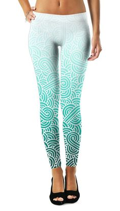 Ombre turquoise blue and white swirls doodles Leggings by @savousepate on RageOn! #gradient #teal #turquoise #cyan #mint #aqua #caribbean #amazonite #aquamarine #leggings #leggins #pants