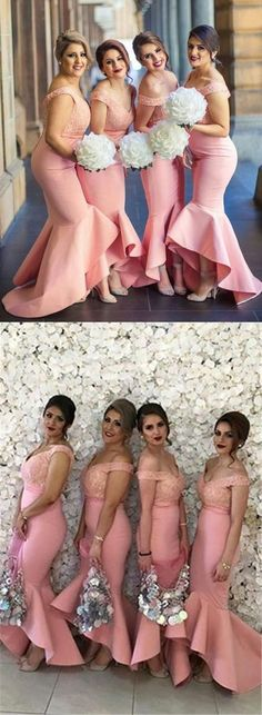 Pink off shoulder bridesmaid dress, Long bridesmaid dress with lace, Elegant mermaid prom party dress 0466 - New Site Off Shoulder Bridesmaid Dress, High Low Bridesmaid Dresses, Prom Party Dresses, Wedding Bridesmaids, Wedding Dresses, Off Shoulder Dress Hairstyle, Wedding Outfits, The Dress, Pink Dress