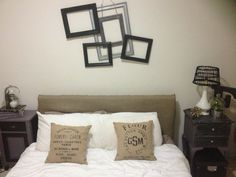 Headboard idea, purchase hessian from hardware store and wrap around existing headboard for instant transformation. Easier then buying a new bed head