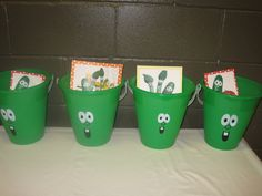 veggie tale party- green dollar store bucket, white and black paint/markers?