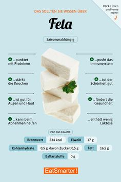 Schafskäse (Feta) - Fit and Healthy Nutrition Education, Diet And Nutrition, Health And Nutrition, Health Tips, Nutrition Guide, Nutrition Activities, Complete Nutrition, Holistic Nutrition, Food Facts