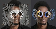 Self-taught Kenyan artist Cyrus Kabiru fashions extravagant eyewear from pieces of found metal and other salvaged materials on the streets of his hometown of Nairobi. Kabiru has been building his futuristic glasses since childhood. Kenyan Artists, Round Sunglasses, Mens Sunglasses, Colossal Art, Through The Looking Glass, Futuristic, Eyewear, Street Wear, Nairobi