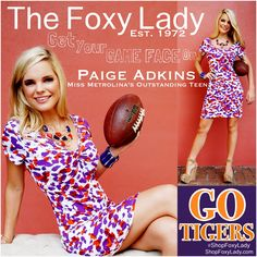 Paige Adkins #MissMetrolinasOutstandingTeen #Clemson #Tigers #PurpleAndOrange #ShopFoxyLady! #cute #purple and #orange #spotted #dress? ($88) An easy fit and made of #cool #cotton for those hot #September #games, this dress can be worn with the v in the back or in the front for 2 different looks purple and orange #necklace set ($30) #InStockNOW #GetThisLook! #Call #TheFoxyLady 843-692-7022 #clemsonoutfit#football#gamedayoutfit#GOTIGERS#FootballFashion#missqueencity#missmetrolina…