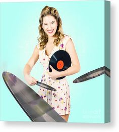 70s Canvas Print featuring the photograph Beautiful 70s Dj Pinup Girl With Record Music Disc by Jorgo Photography - Wall Art Gallery