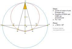 Geometry Problem 1353: Tangent Circles, Perpendicular Diameters, Congruence, 30 Degrees. Math Infographic, Tutor