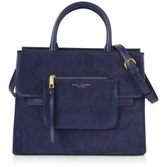 Marc Jacobs Madison Ns Tote found on Polyvore featuring bags, handbags, tote bags, midnight blue, suede tote, blue tote, foldable tote bag, handbags totes and hand bags