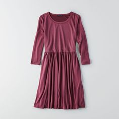 AEO Soft Babydoll Dress ($16) ❤ liked on Polyvore featuring dresses, maroon, pleated sleeve dress, american eagle outfitters dresses, maroon dress, american eagle outfitters and pleated babydoll dress
