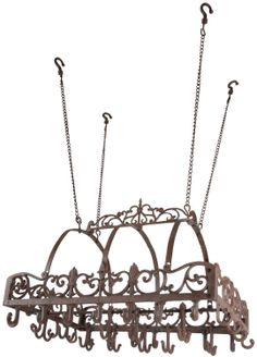 Amazon.com: Esschert Design KB08 Cast Iron Kitchen Hanging Pot Rack: Kitchen & Dining